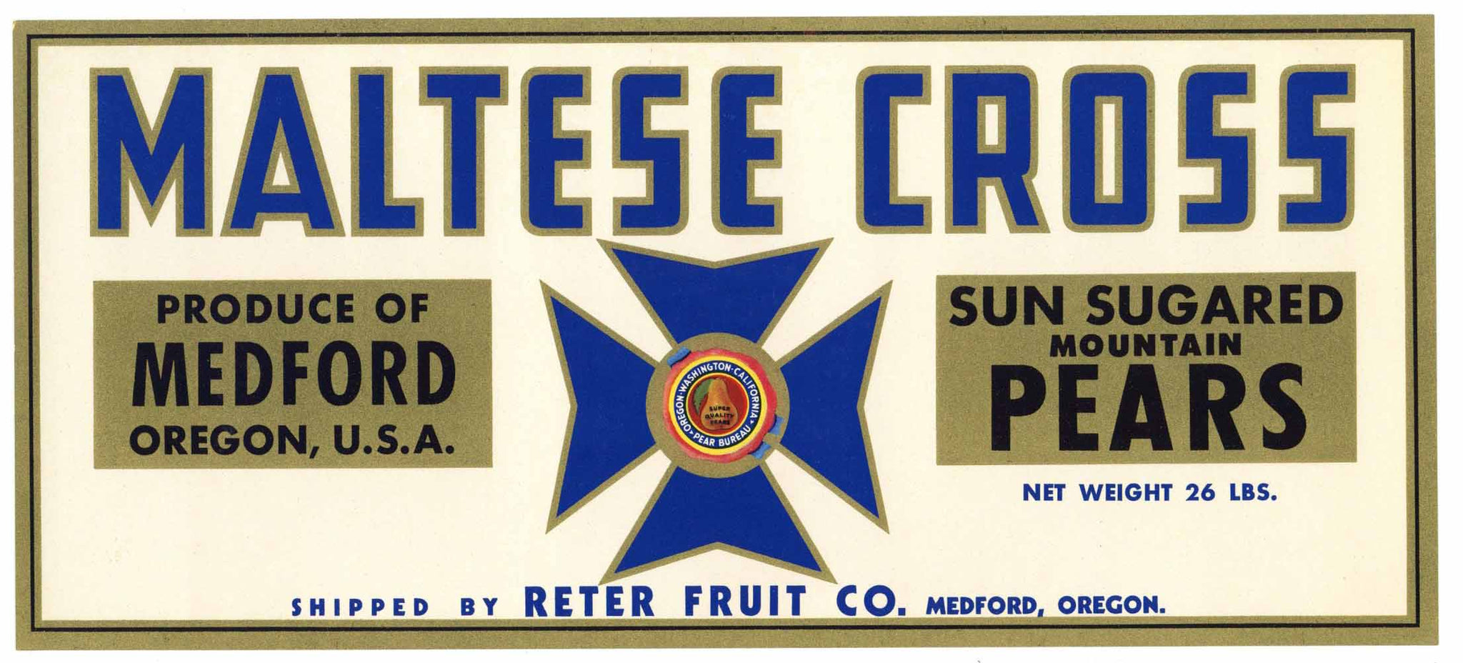 Maltese Cross Brand Vintage Medford Oregon Pear Crate Label, lug