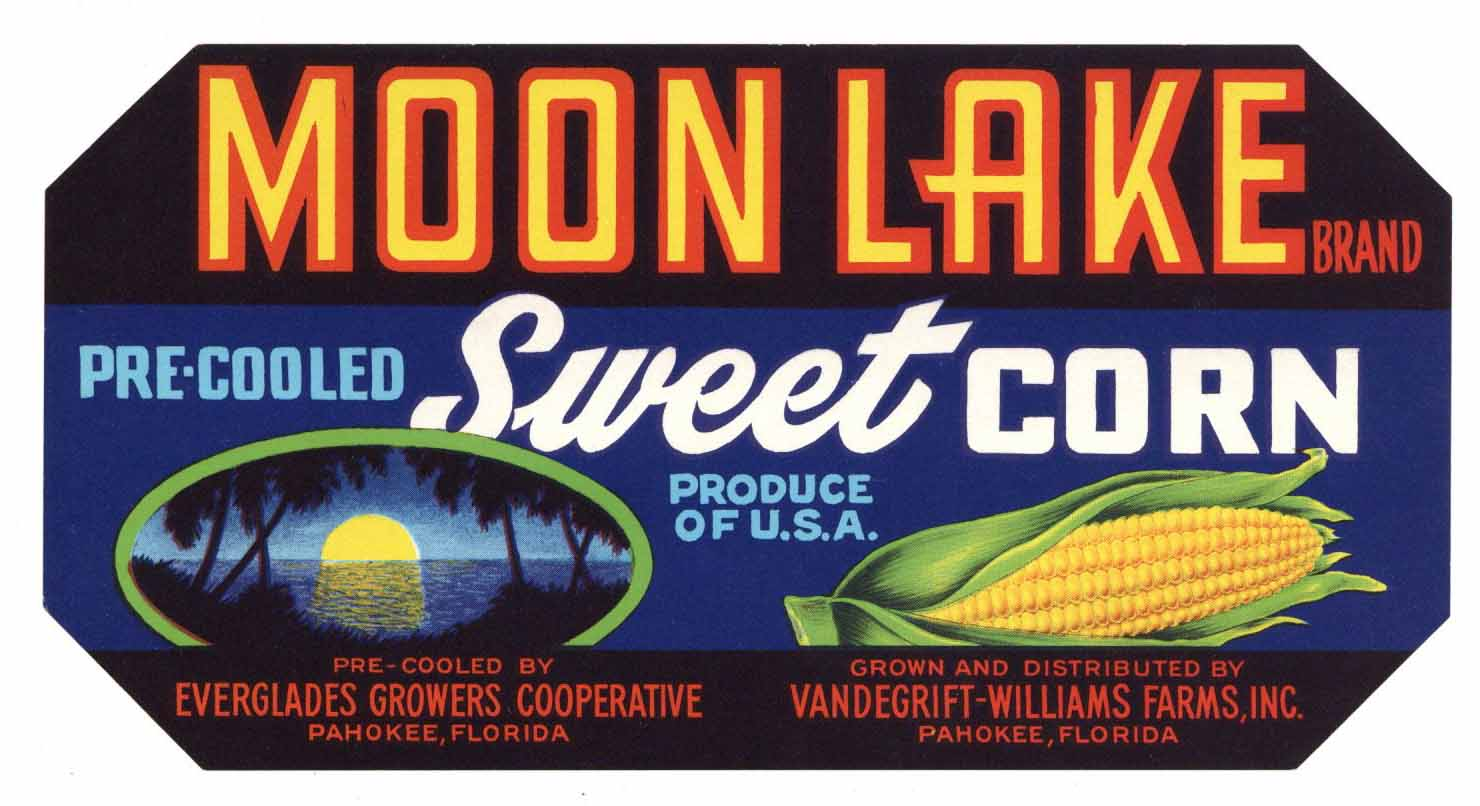 Moon Lake Brand Vintage Pahokee Florida Corn Crate Label