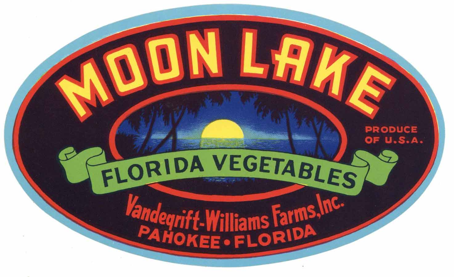 Moon Lake Brand Vintage Pahokee Florida Vegetable Crate Label