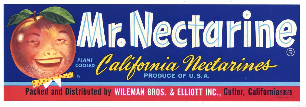 Mr. Nectarine Brand Vintage Fruit Crate Label