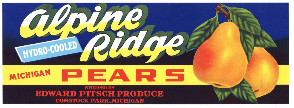 Alpine Brand Vintage Comstock Park Michigan Pear Crate Label