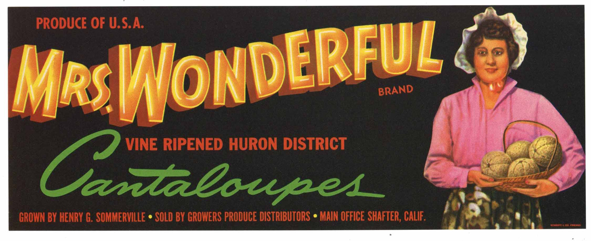 Mrs. Wonderful Brand Vintage Melon Crate Label