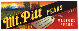 Mt. Pitt Brand Vintage Pear Crate Label, lug