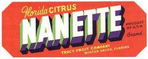 Nanette Brand Vintage Winter Haven Florida Citrus Crate Label