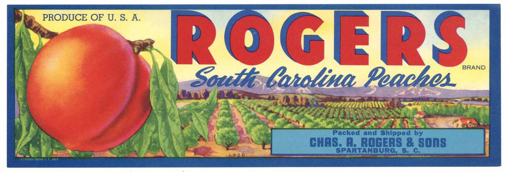 Rogers Brand Vintage Spartanburg South Carolina Peach Crate Label