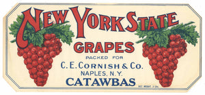 New York State Brand Vintage Napes Grape Crate Label