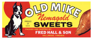 Old Mike Brand Vintage Hallwood Virginia Yam Crate Label