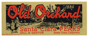 Old Orchard Brand Vintage Santa Clara Pear Crate Label, Lug