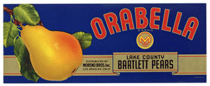 Orabella Brand Lake County Pear Crate Label