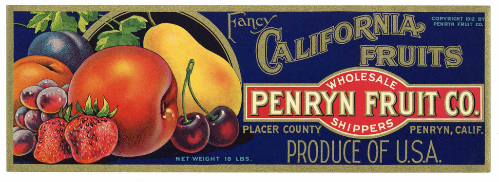 Penryn Fruit Co. Brand Vintage Placer County Fruit Crate Label, strawberry