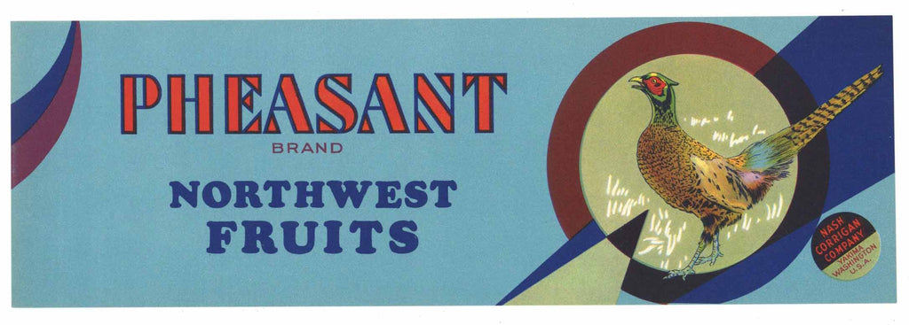 Pheasant Brand Vintage Yakima Washington Fruit Crate Label