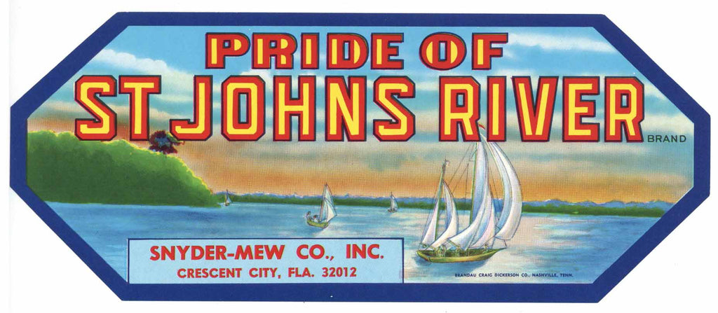 Pride of St Johns River Brand Vintage Florida Citrus Crate Label