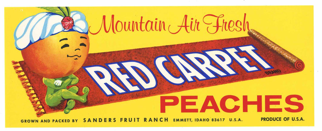 Red Carpet Brand Vintage Emmett Idaho Peach Crate Label