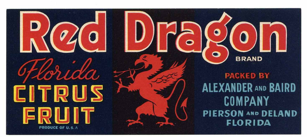 Red Dragon Brand Vintage Florida Citrus Crate Label s