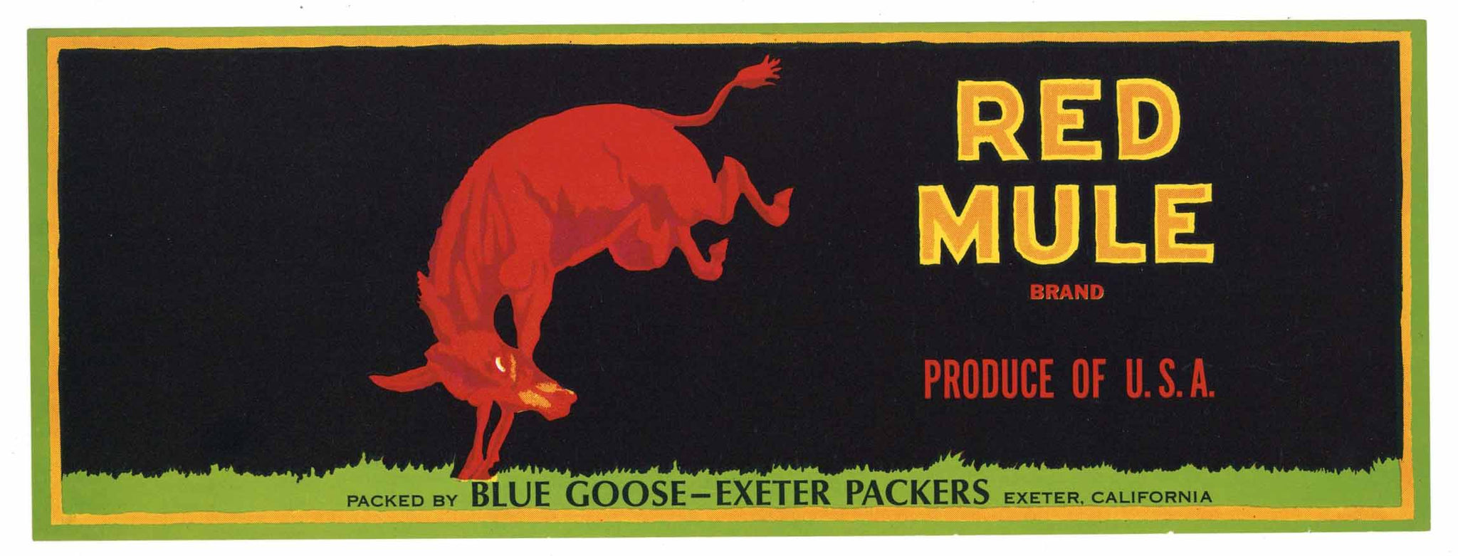 Red Mule Brand Vintage Fruit Crate Label