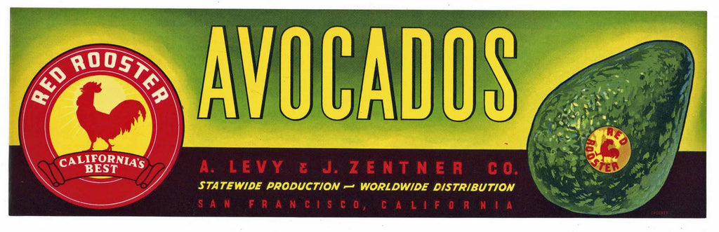 Red Rooster Brand Vintage Avocado Crate Label