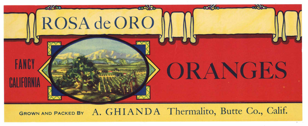 Rosa de Oro Brand Vintage Butte County Orange Crate Label
