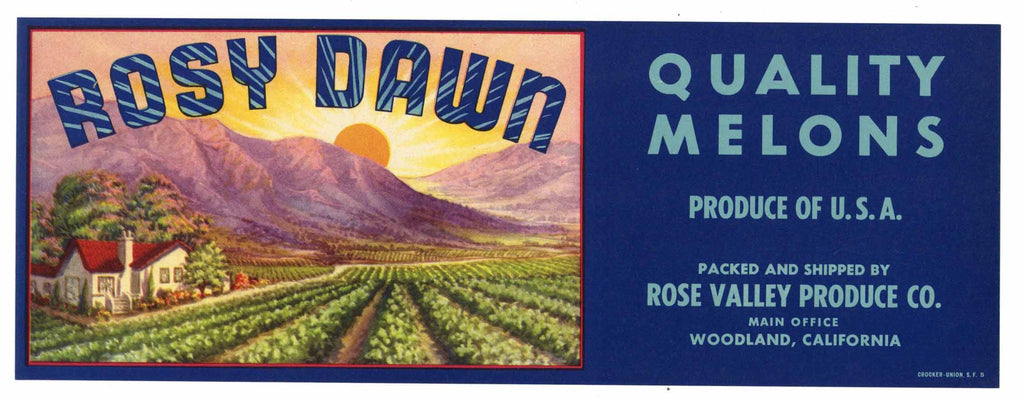 Rosy Dawn Brand Vintage Woodland Melon Crate Label, s