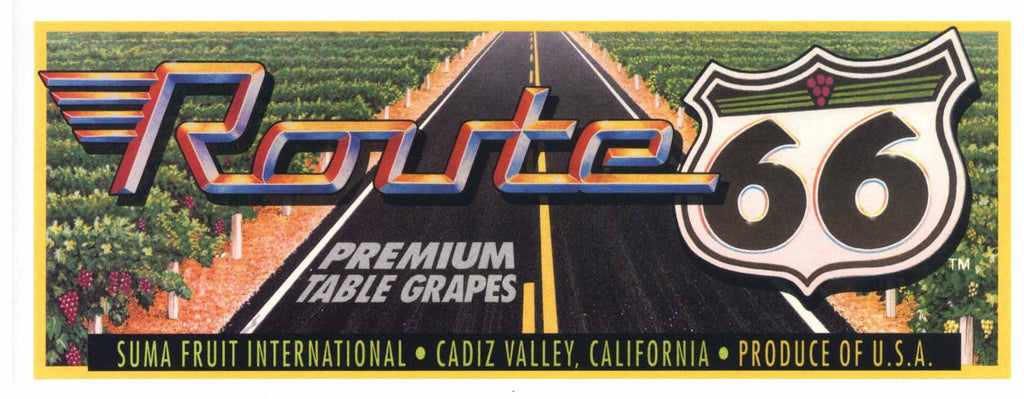 Route 66 Brand Vintage Cadiz Valley Grape Crate Label