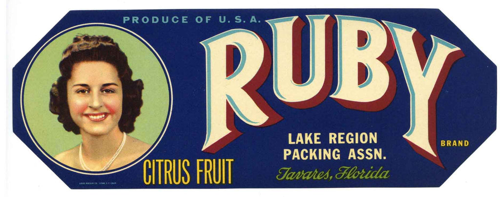 Ruby Brand Vintage Tavares Florida Citrus Crate Label