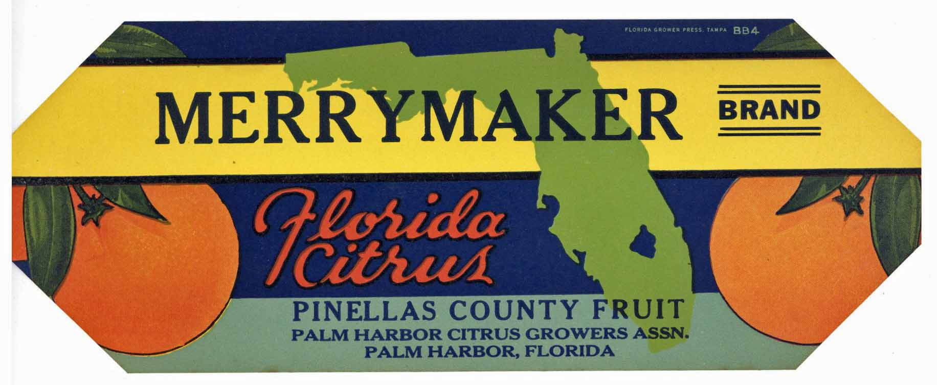 Merry Maker Brand Vintage Palm Harbor Florida Citrus Crate Label