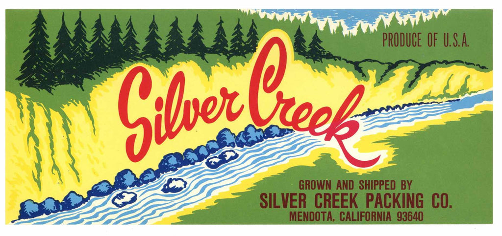 Silver Creek Brand Vintage Mendota Produce Crate Label