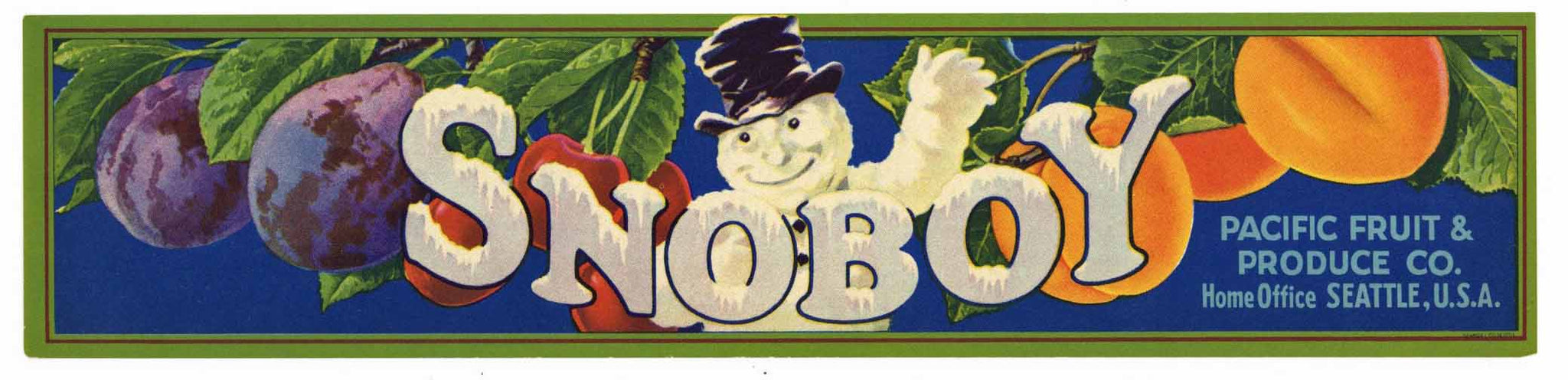 Snoboy Brand Pacific Fruit & Produce Co. Crate Label
