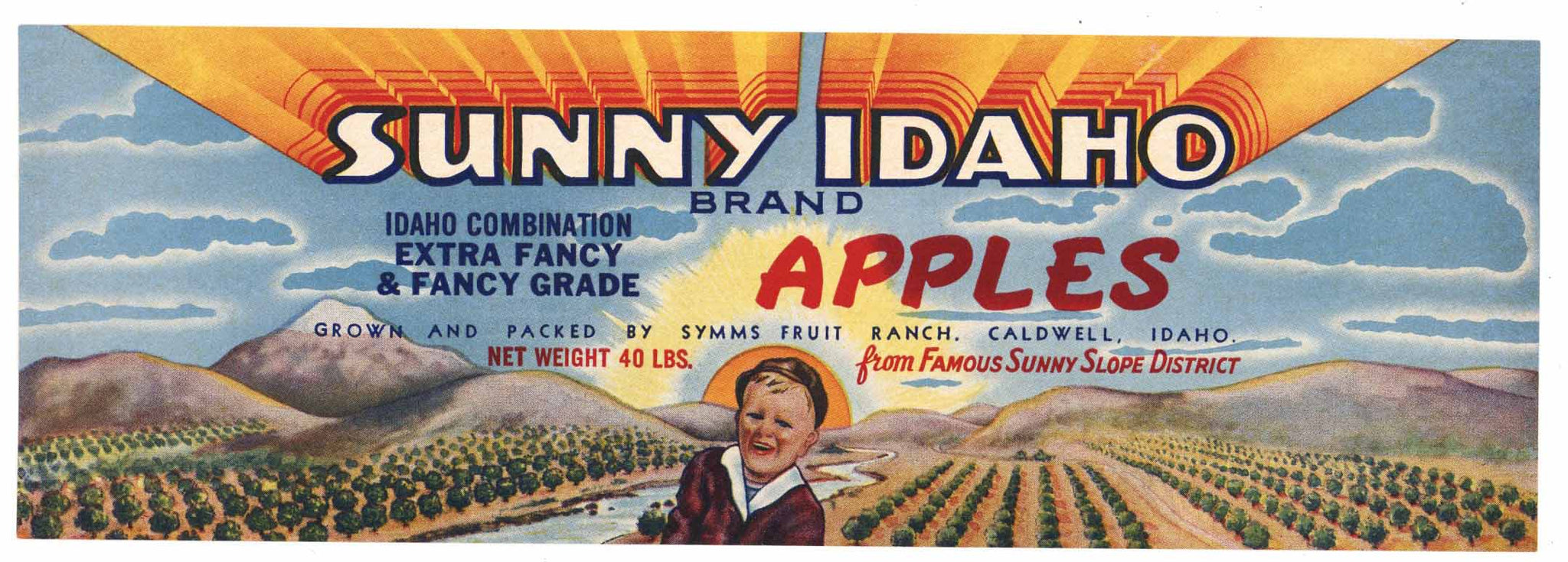 Sunny Idaho Brand Vintage Caldwell Apple Crate Label