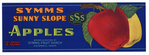 Symms Sunny Slope Brand Vintage Caldwell Idaho Apple Crate Label