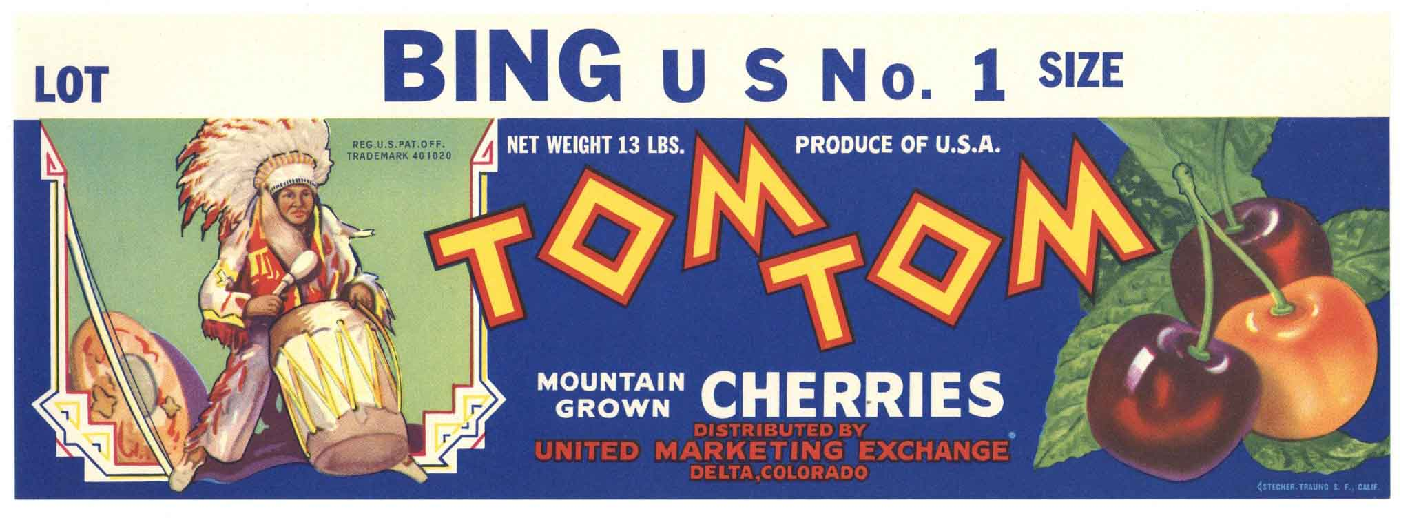 Tom Tom Brand Vintage Colorado Cherry Fruit Crate Label