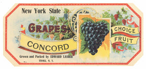 New York State Brand Vintage Grape Crate Label, Tivoli