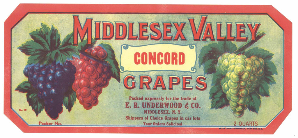 Middlesex Valley Brand Vintage New York Grape Crate Label