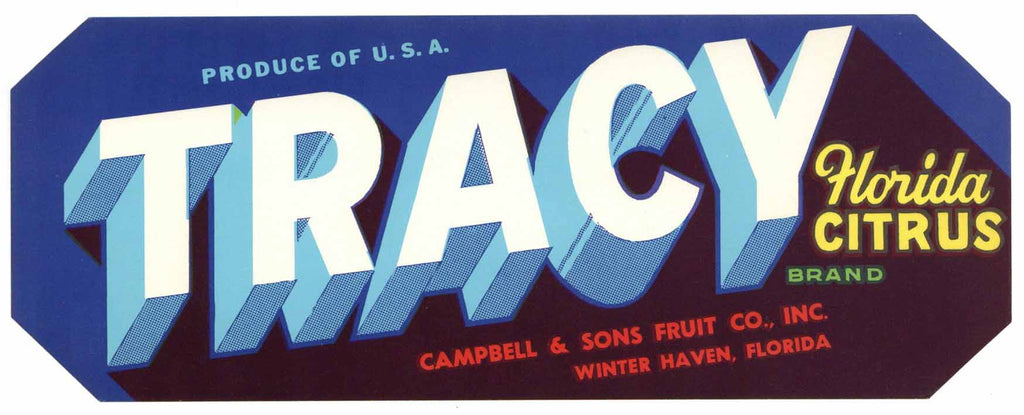 Tracy Brand Vintage Winter Haven Florida Citrus Crate Label