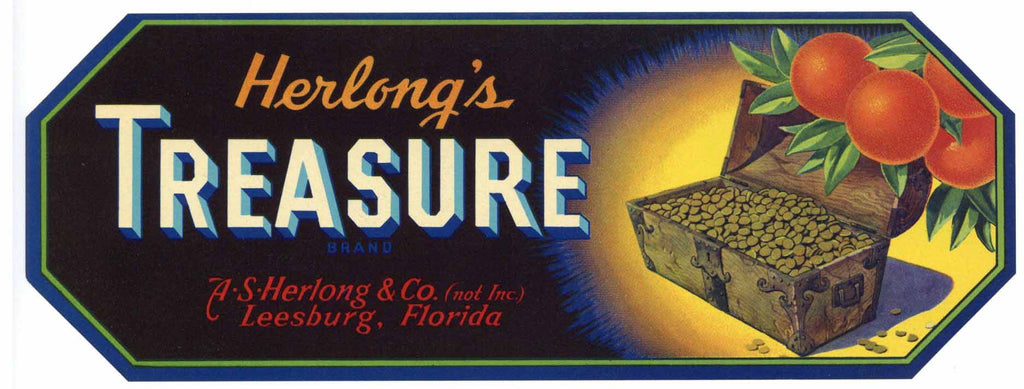 Treasure Brand Vintage Leesburg Florida Citrus Crate Label