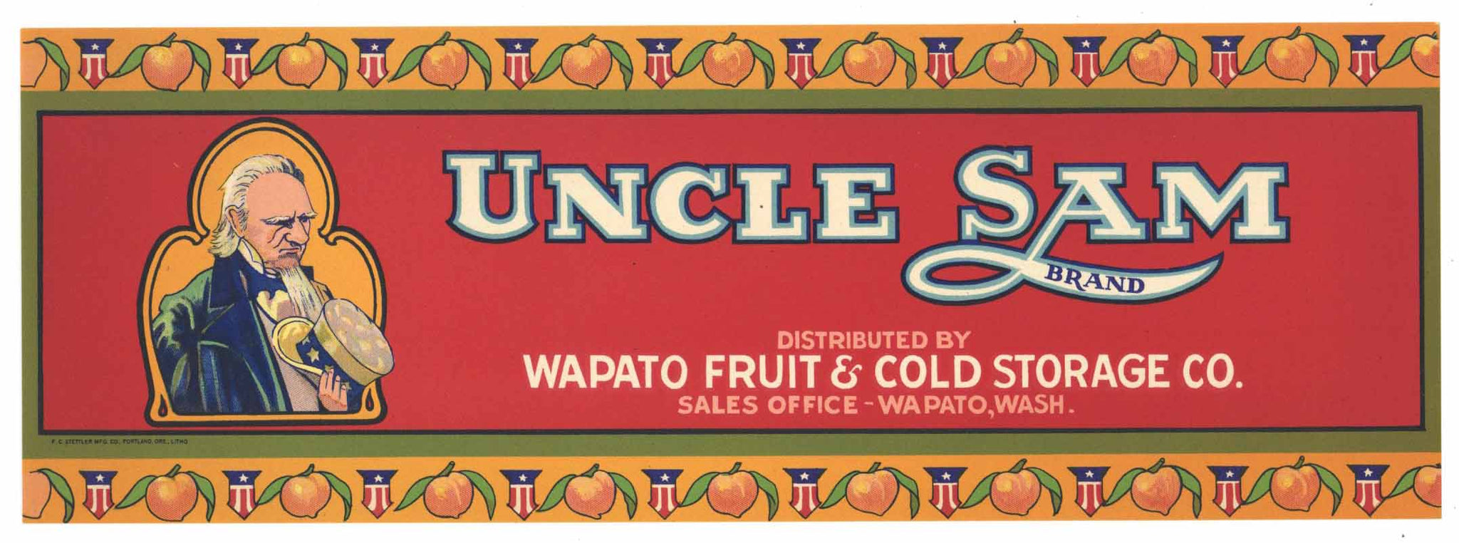 Uncle Sam Brand Vintage Washington Fruit Crate Label