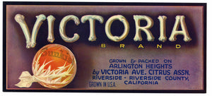 Victoria Brand Vintage Riverside Orange Crate Label, lug