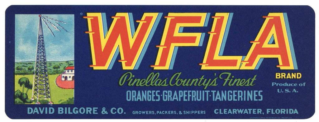 WFLA Brand Vintage Clearwater Florida Citrus Crate Label