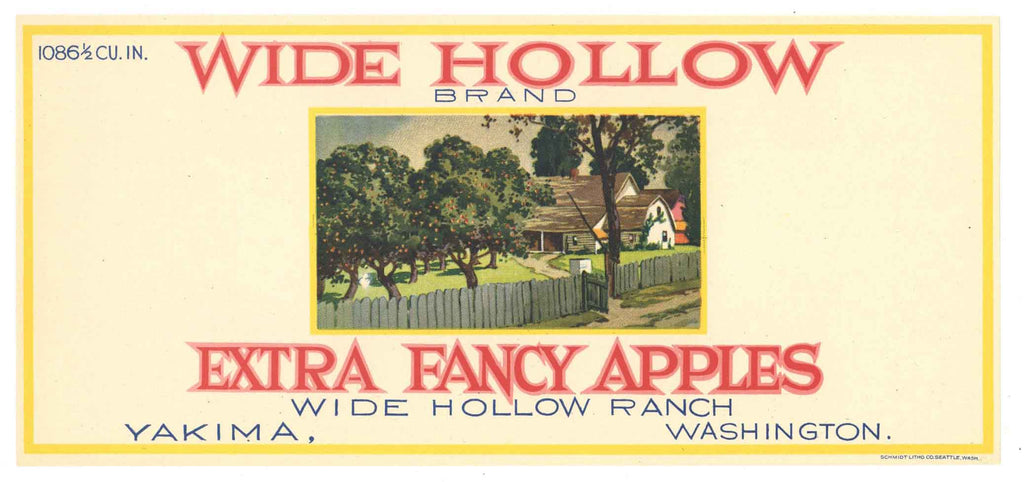 Wide Hollow Brand Vintage Washington Apple Crate Label, s