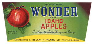 Wonder Brand Vintage Fruitland Idaho Apple Crate Label