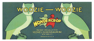 Woozie Woozie Brand Vintage Vegetable Crate Label