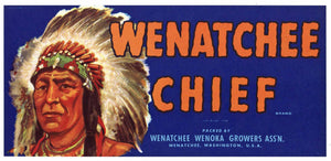 Wenatchee Chief Brand Vintage Fruit Crate Label, s