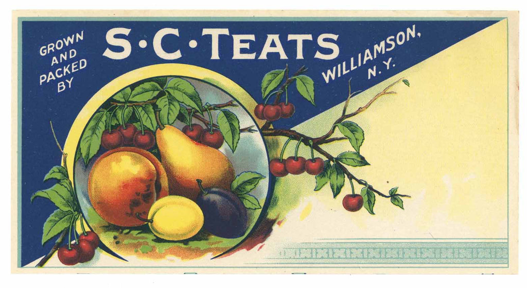 S C Teats Brand Vintage Williamson, New York Fruit Crate Label