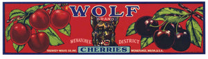 Wolf Brand Vintage Washington Cherry Crate Label