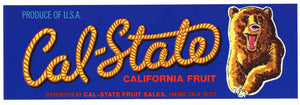 Cal State Brand Vintage Fresno Fruit Crate Label