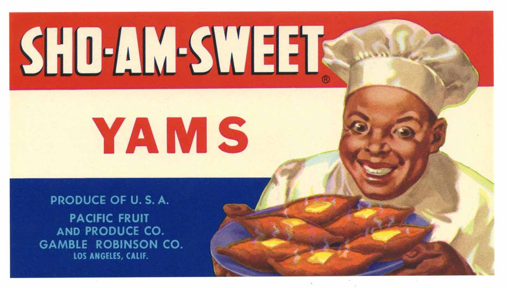 Sho-Am-Sweet Brand Vintage Yam Crate Label
