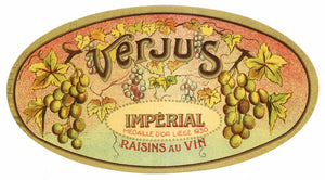 Verjus Brand Vintage French Raisin Label