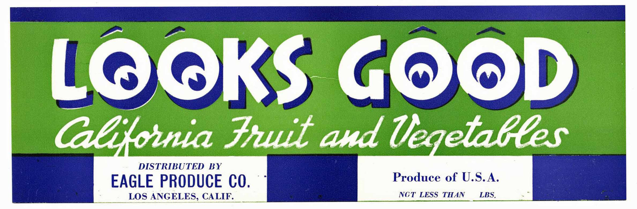 Looks Good Brand Vintage Produce Crate Label