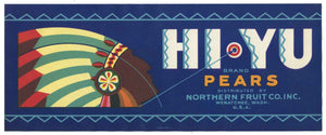 Hi Yu Brand Vintage Washington Pear Crate Label, s
