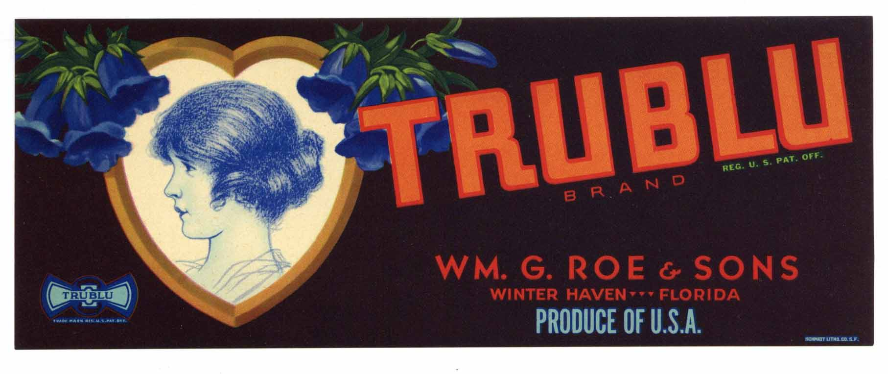 Trublu Brand Vintage Winter Haven Florida Citrus Crate Label