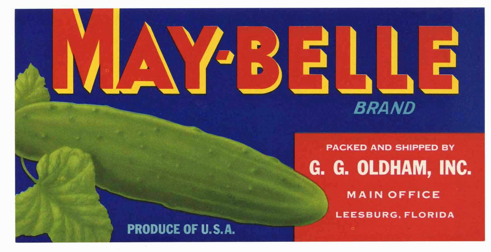 May Belle Brand Vintage Leesburg Florida Vegetable Crate Label